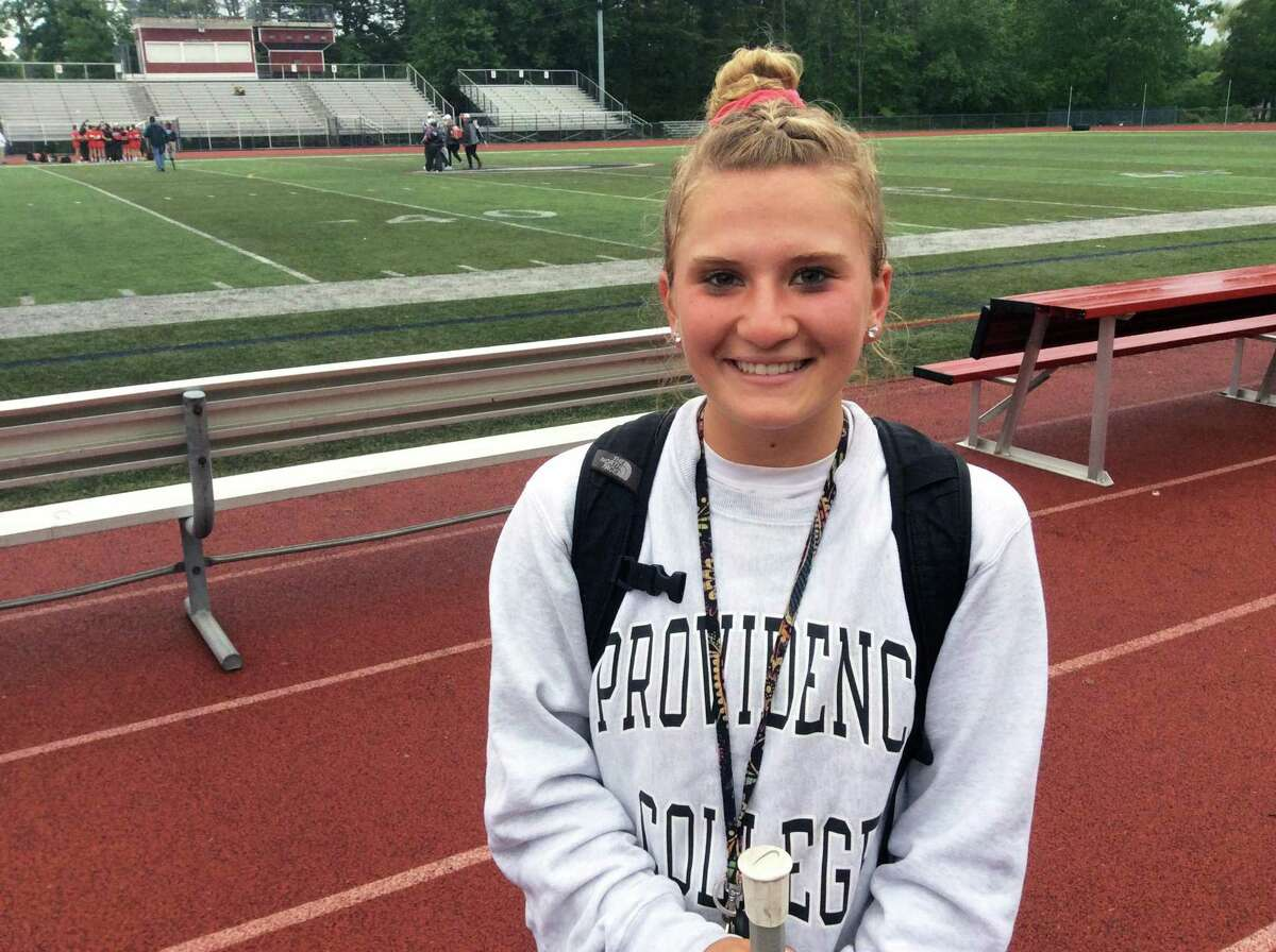 Annie Aquavita of Cheshire tallied twice in the Rams' 9-7 win over visiting Greenwich in the opening round of the CIAC Class L Tournament on Tuesday, May 28, 2019.