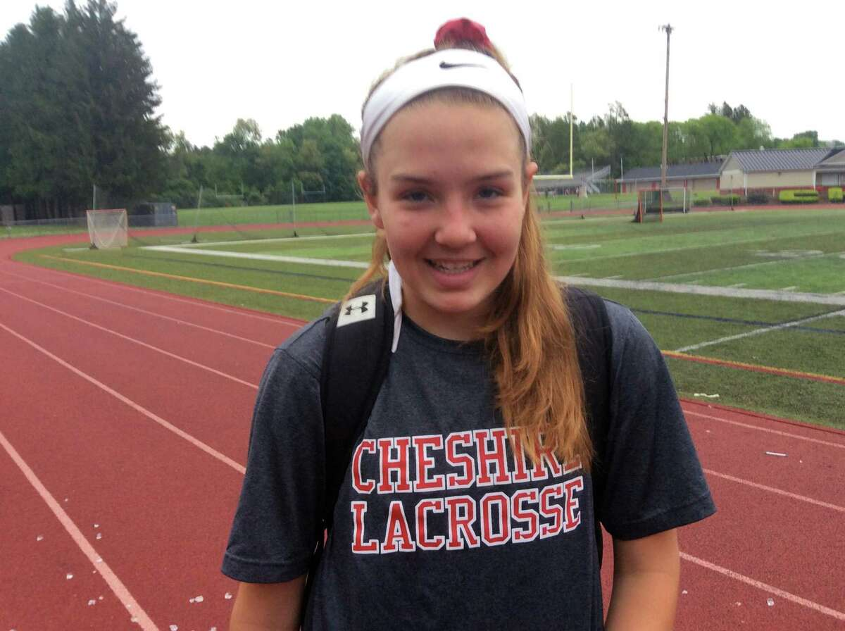Annie Eddy scored four goals in the Cheshire girls lacrosse team's 9-7 win over visiting Greenwich in the opening round of the CIAC Class L Tournament on Tuesday, May 28, 2019.