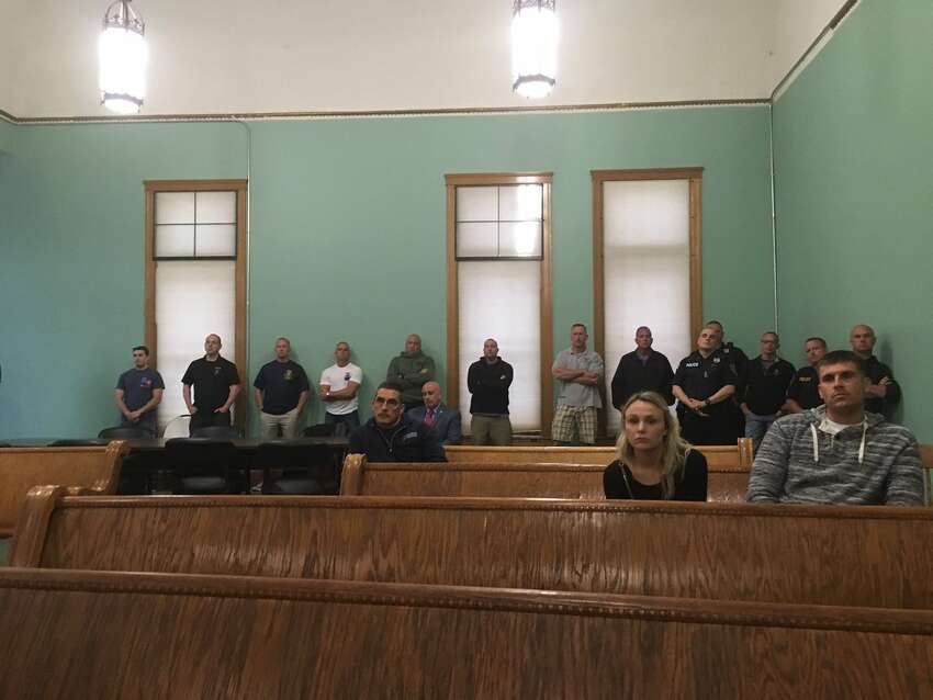 Cohoes police officers attend a city Public Safety Committee meeting on Tuesday May 28, 2019, in Cohoes, N.Y.