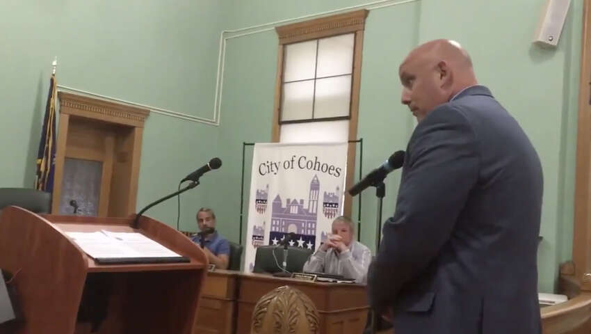 William LeBeau of the police union's council 82 speaks at a city Public Safety Committee meeting on Tuesday May 28, 2019, in Cohoes, N.Y.