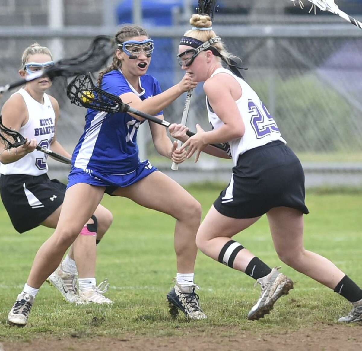 North Branford, Connecticut - Tuesday, May 28, 2019: North Branford H.S. vs. Old Lyme H.S. first half action during the Class S First Round CIAC 2019 State Girls Lacrosse Tournament Tuesday at North Branford H.S.