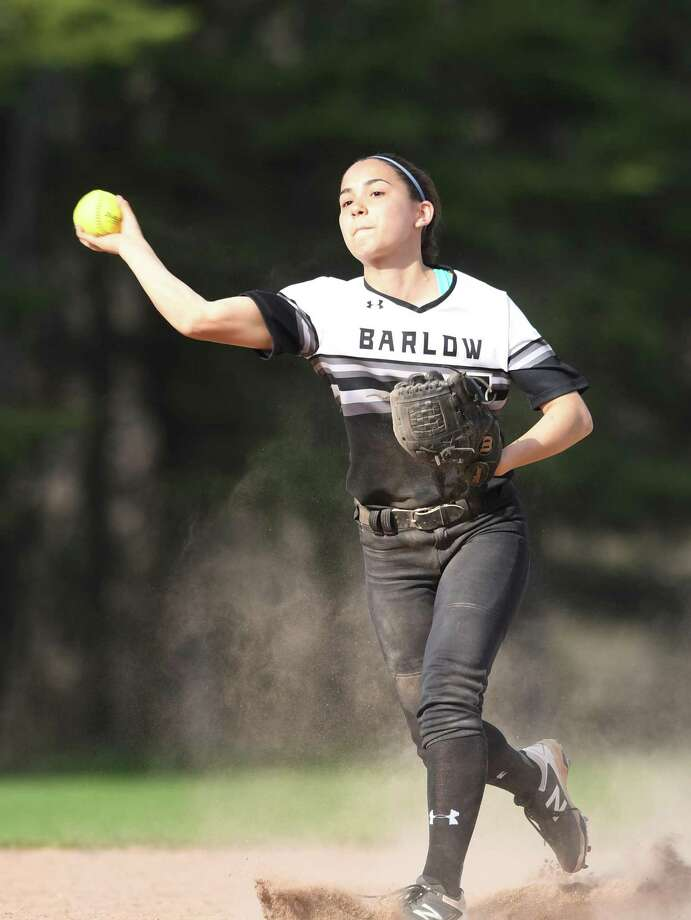 Barlow shortstop Abby Ota makes a play during a game against Masuk on May 2 in Monroe. Photo: Krista Benson / For Hearst Connecticut Media / The News-Times Freelance
