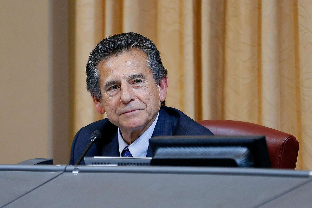City Council public safety committee president Noel Gallo during a public safety committee hearing at City Hall on Tuesday, May 28, 2019, in Oakland, Calif. The City Council public safety committee heard a resolution that would decriminalize plant-based psychedelics, including mushrooms and herbs.