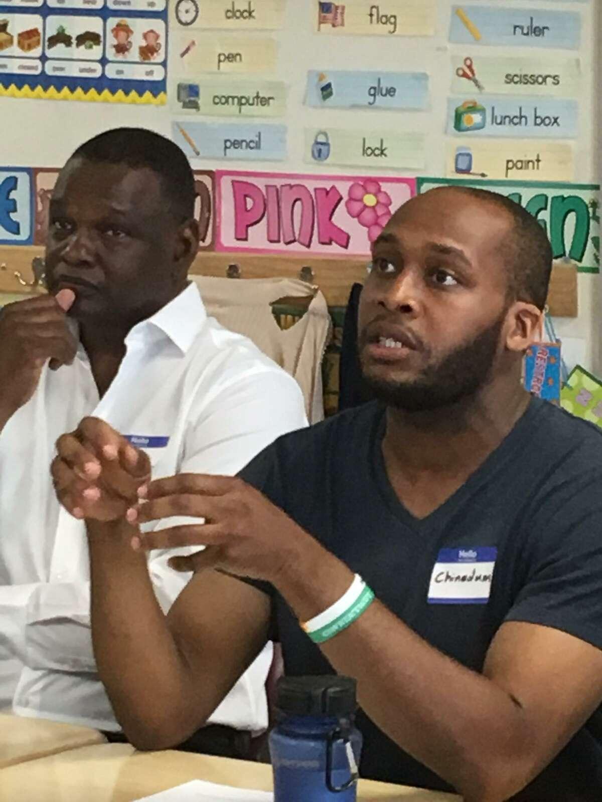 Participants in the Males of Color forum in Bridgeport in June 2018.