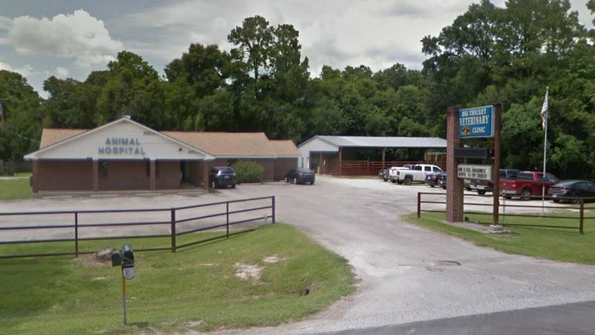 Two people and an officer were shot Wednesday morning near the Big Thicket Veterinary Clinic on FM 321, just east of Cleveland, police say.