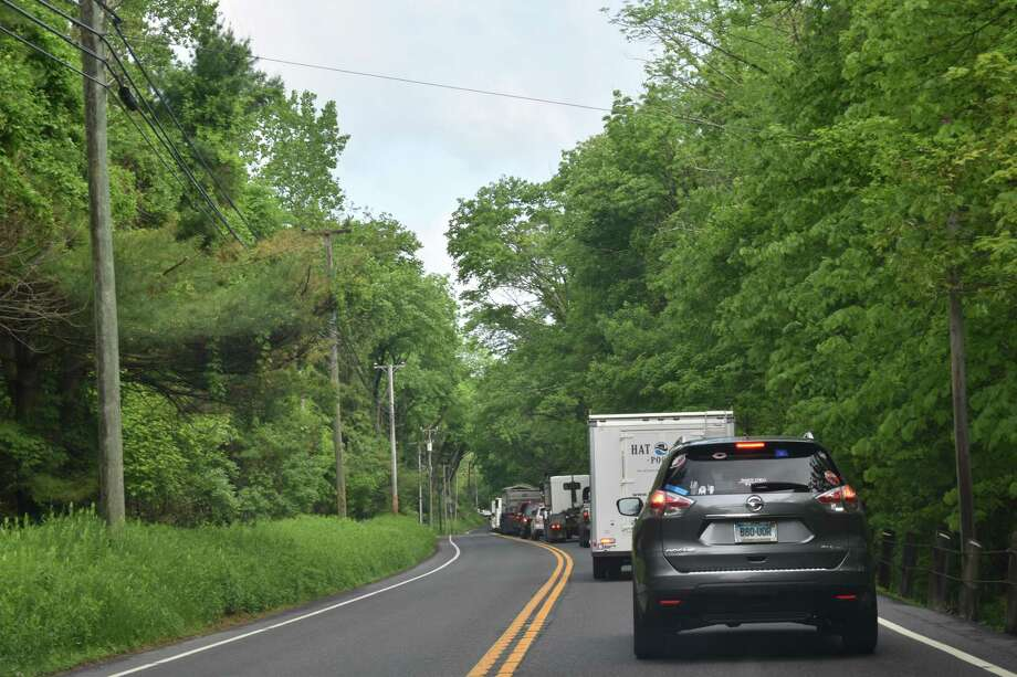 A head-on collision backed up traffic on Route 7 the morning of May 29, 2019. Photo: Kendra Baker / Hearst Connecticut Media