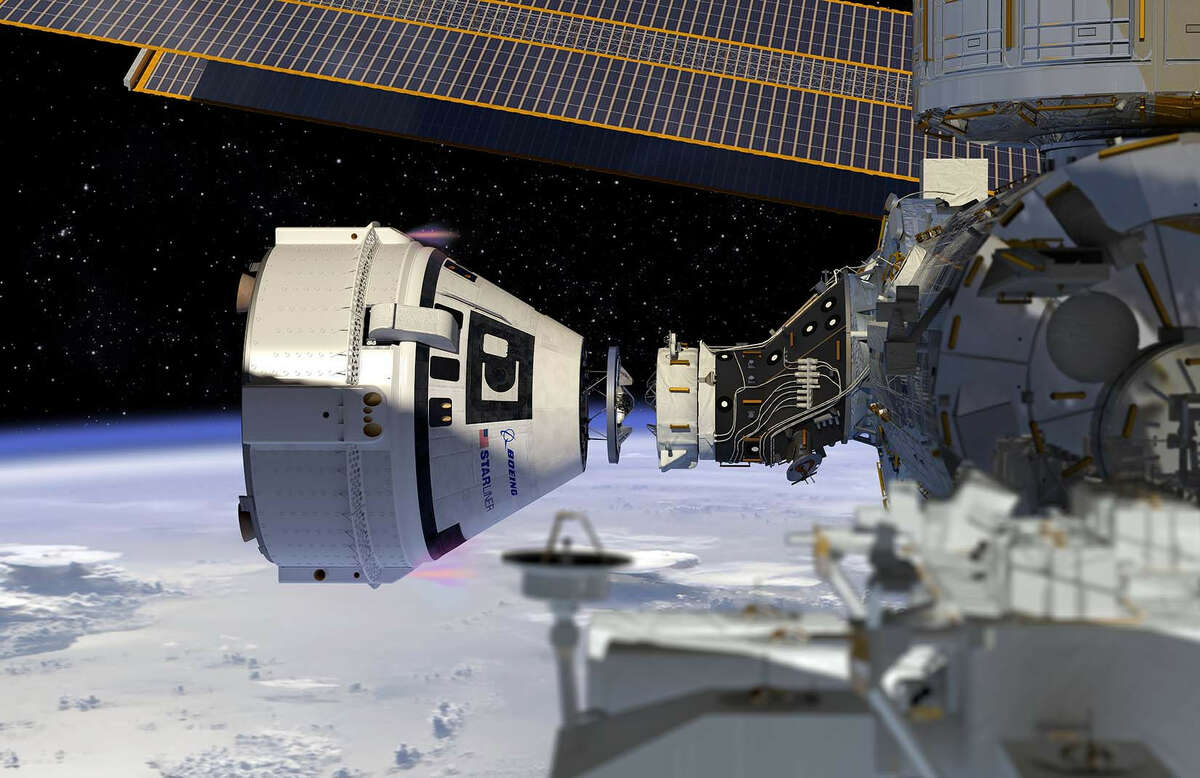 This artist rendering shows Boeing's Crew Space Transportation (CST)-100 Starliner docking to the International Space Station. The Starliner system, consisting of the spacecraft, launch vehicle and mission operations, is being developed in partnership with NASA's Commercial Crew Program.