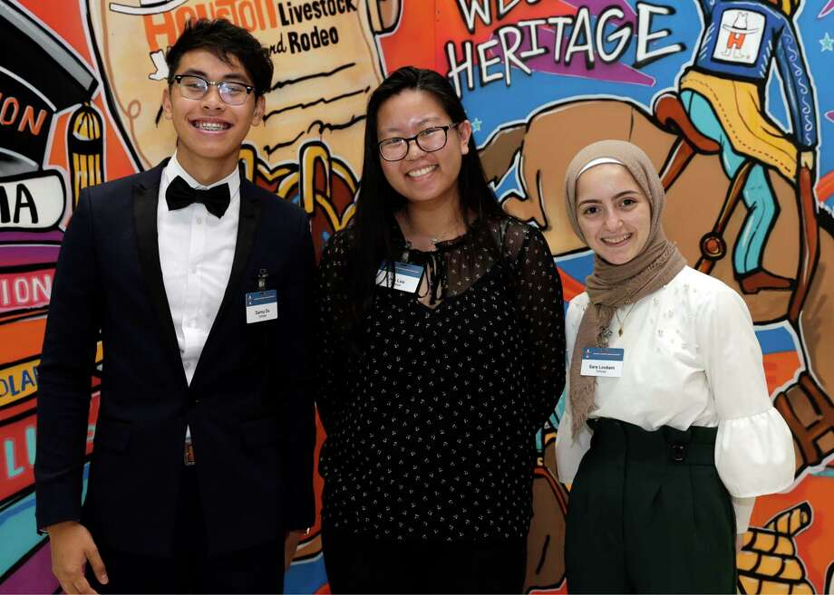 Danny Do, Ivie Luu and Sara Loubani at the Houston Livestock Show and Rodeo Scholarship Banquet at the NRG Center Wednesday, May. 22, 2019 in Houston, TX. Photo: Michael Wyke, Contributor / © 2019 Houston Chronicle