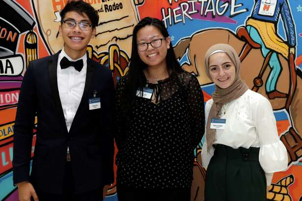 Danny Do, Ivie Luu and Sara Loubani at the Houston Livestock Show and Rodeo Scholarship Banquet at the NRG Center Wednesday, May. 22, 2019 in Houston, TX.