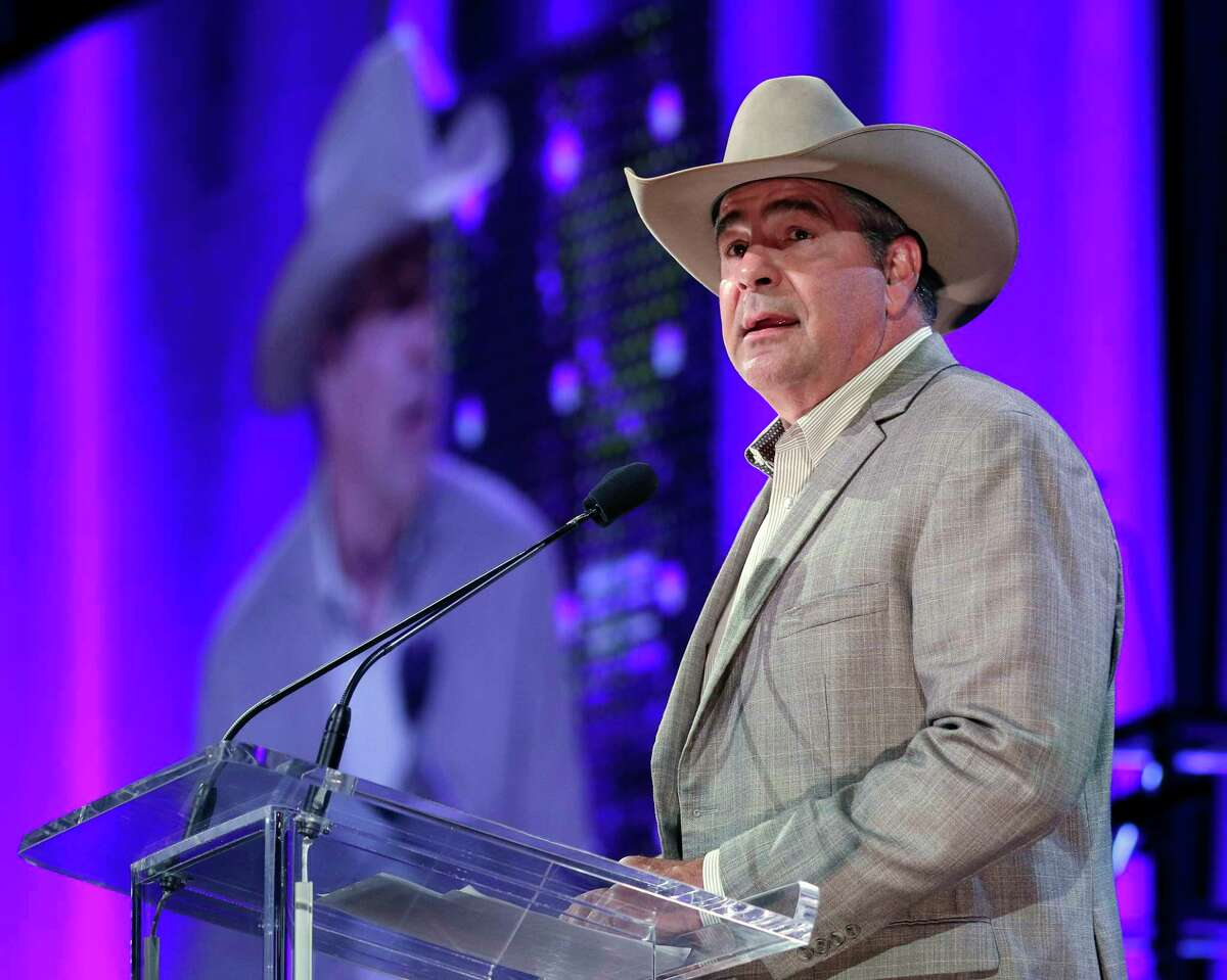 Rodeo Houston announcer Boyd Polhamus emcees the the Houston Livestock Show and Rodeo Scholarship Banquet at the NRG Center Wednesday, May. 22, 2019 in Houston, TX.