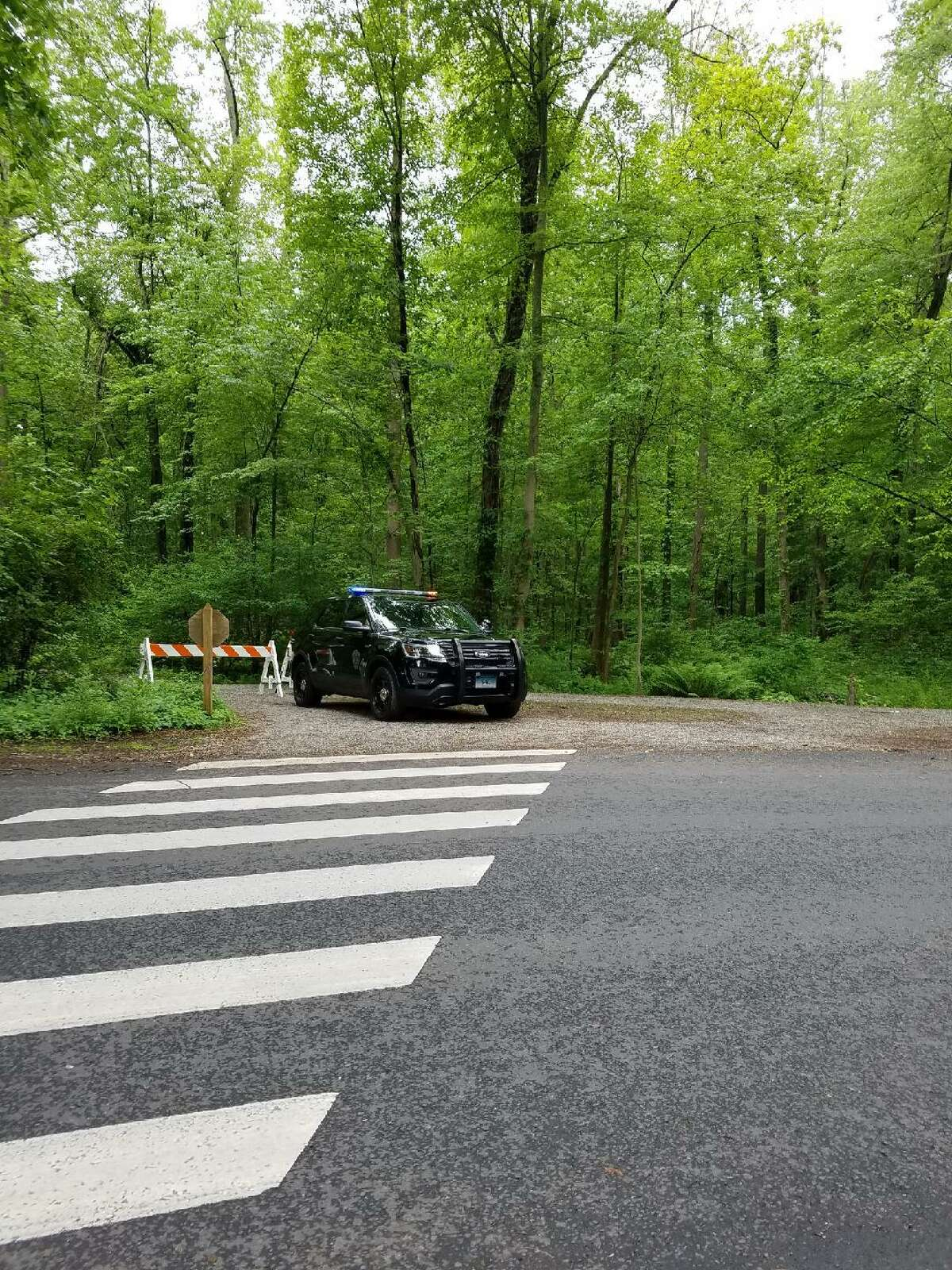 New Canaan Police close off trails in Waveny Park while searching for Jennifer Dulos, the mother of five missing since Friday, May 24, on Wednesday, May 29.