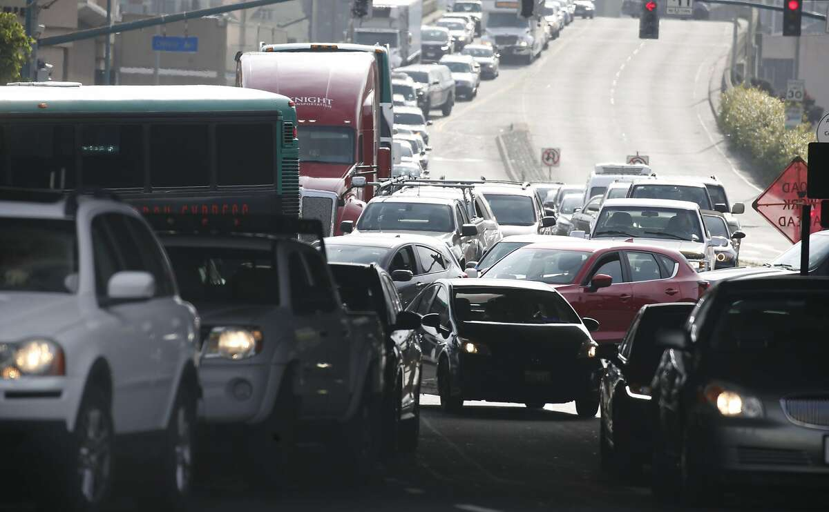 Traffic leading to freeway on-ramps and the MacArthur Maze is at a standstill on Powell Street in Emeryville, Calif. on Wednesday, May 29, 2019 following a fatal accident on the Bay Bridge which forced the closure of three lanes during the morning commute.