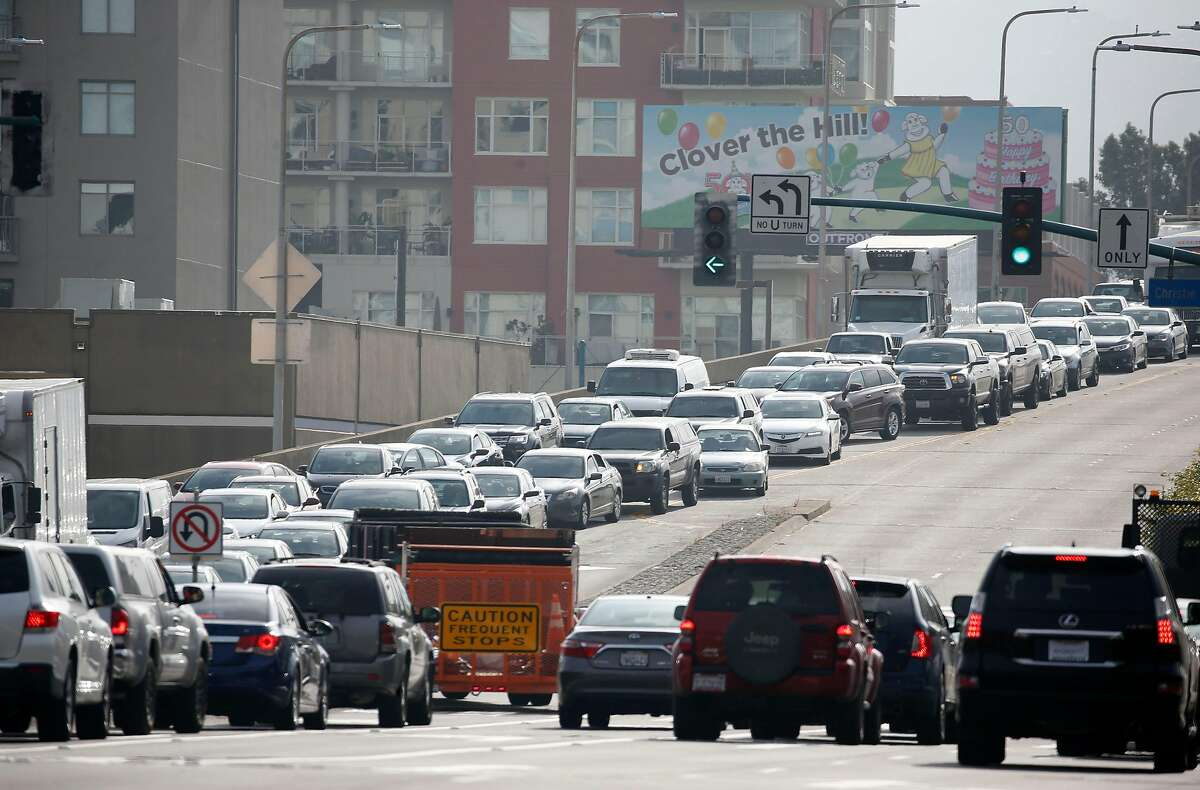 Traffic leading to freeway on-ramps and the MacArthur Maze is at a standstill at Powell Street and Christie Avenue in Emeryville, Calif. on Wednesday, May 29, 2019 following a fatal accident on the Bay Bridge which forced the closure of three lanes during the morning commute.