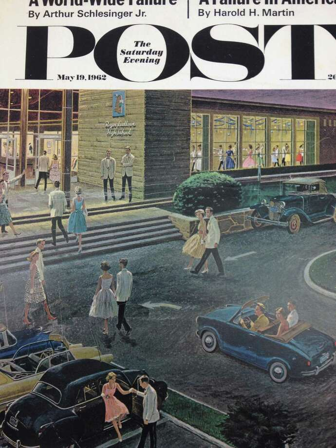 The May 19, 1962 issue of The Saturday Evening Post. The cover of that weekly publication featured the painting Prom Dates in Parking Lot by Ben Kimberly Prins, which depicts the 1961 junior prom at the building that is now Fairfield Ludlowe High School. Photo: Contributed Photo