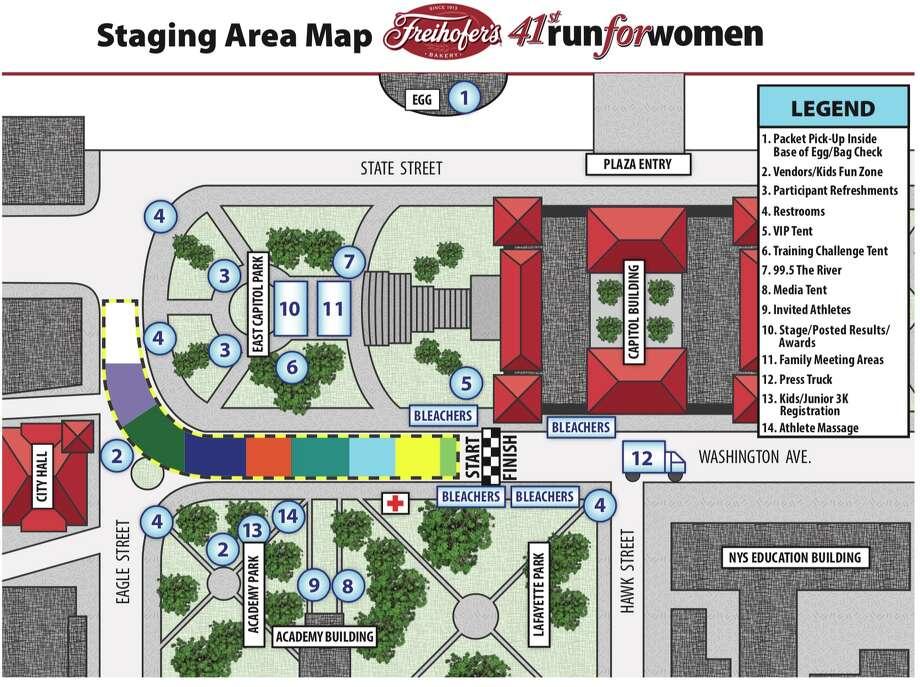 Staging area for 2019 Freihofer's Run for Women
