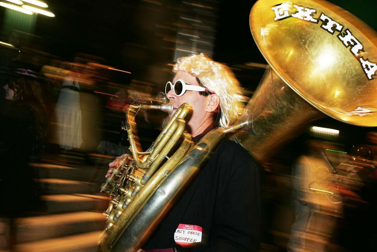 A traveling tuba player faces a flight challenge