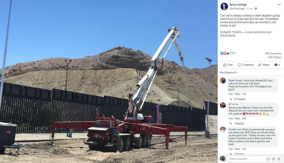 """""""Our wall is already working to deter illegals! A group came down to cross and saw the wall, immediately turned around and went back up mountain! Look closely at pic!"""""""