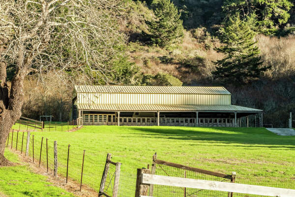On an 186-acre slice of bucolic countryside an hour from San Francisco, this ocean-view Pescadero ranch features a 5,100-acre estate, a cattle barn, three ponds stocked with catfish, a willow-shaded stream and gently rolling hills as far as the eye can see.