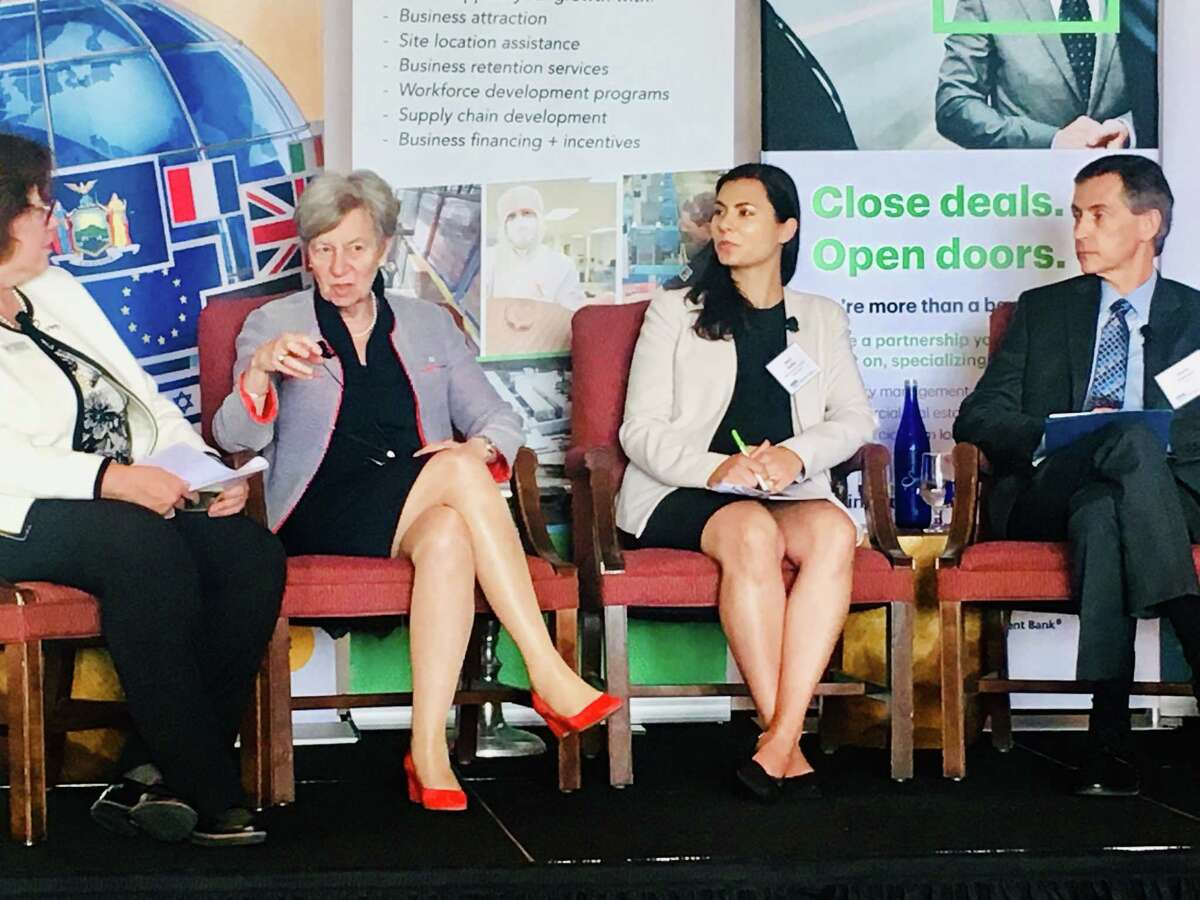 Phyllis Yaffe, Canada's Consul General of New York, second from left, speaks on Wednesday, May 29, 2019 at Saratoga National for the Saratoga County Prosperity Partnership's forum on the United States-Mexico-Canada Agreement, aka the New NAFTA. At far left is Mary Estelle Ryckman, global markets advisor for the partnership, who moderated the event. At right center is Devi Keller, director of global policy for the Semicondictor Association, and at far right is Steven Stewart, director of international trade policy for IBM.
