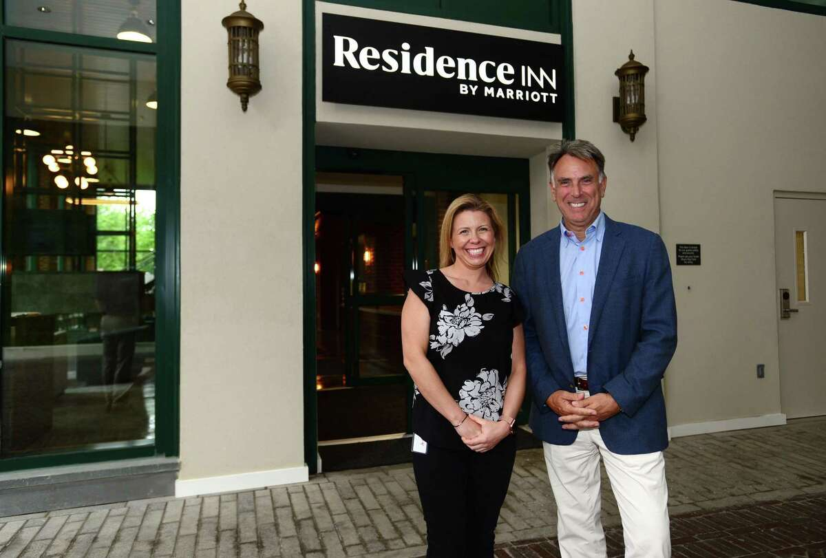 General Manager Dawn Gasper and F.D. Rich CEO, Tom Rich, at the new Residence Inn by Marriott Tuesday, May 28, 2019, in Norwalk, Conn. The new extended stay hotel opens Thursday in South Norwalk,