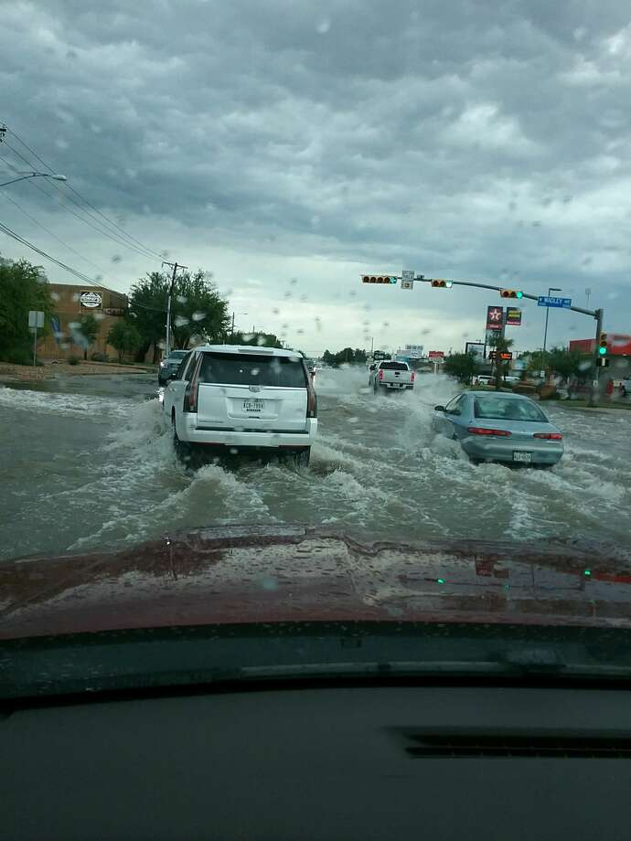 Reader submitted photos of Wadley Ave flooded following the storms that rolled through Midland Wednesday, May, 29. Photo: Courtesy Photo