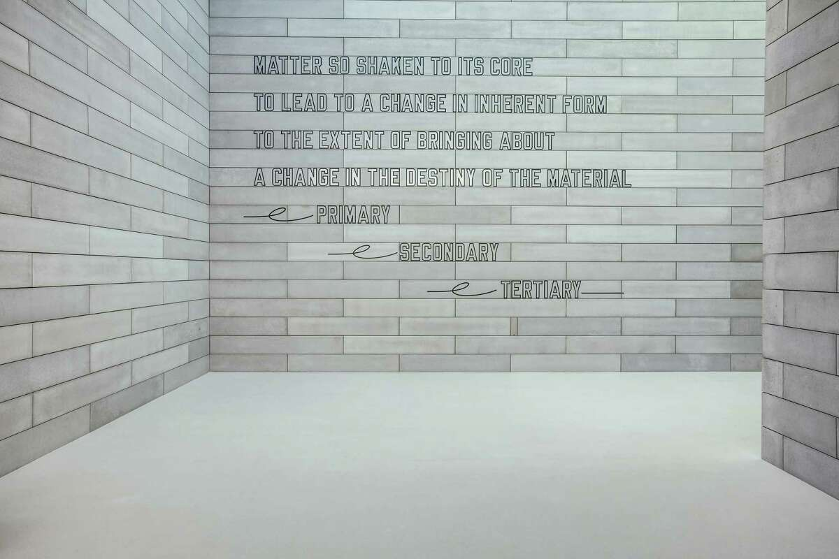 An installation by Lawrence Weiner at Glenstone.