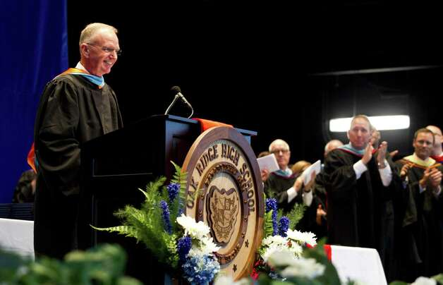 Oak Ridge principal Tommy Johnson receives a standing ovation as he presides over his final graduation for Oak Ridge High School at Cynthia Woods Mitchell Pavilion, Tuesday, May 28, 2019, in The Woodlands. Johnson retired after 41 years in Conroe ISD. Photo: Jason Fochtman, Houston Chronicle / Staff Photographer / © 2019 Houston Chronicle