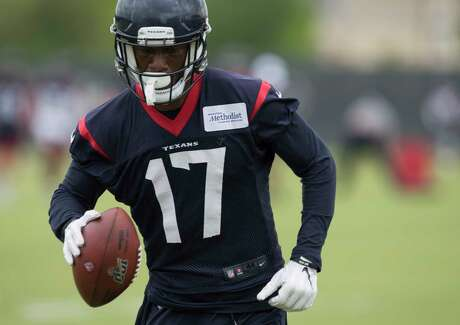 Wide receiver Vyncint Smith runs the ball during Houston Texans OTA's at the Houston Methodist Training Center on Wednesday, May 29, 2019, in Houston.