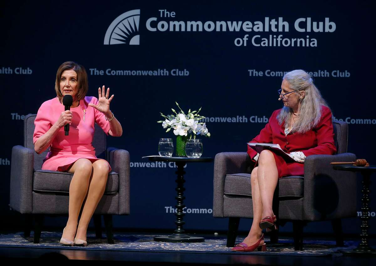 Speaker of the House Nancy Pelosi has a conversation with Dr. Gloria Duffy, president and CEO of the Commonwealth Club, at the Marines' Memorial Theatre in San Francisco, Calif. on Wednesday, May 29, 2019.
