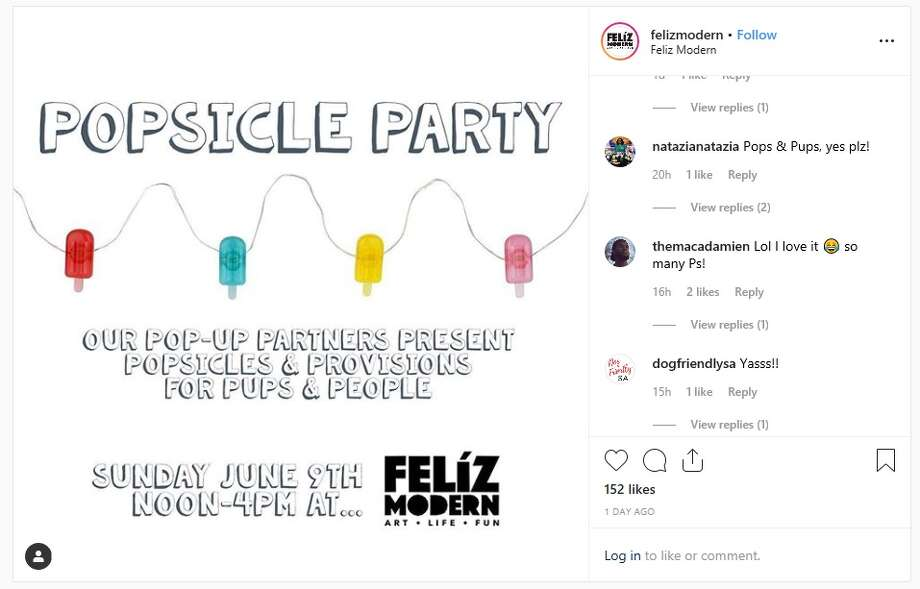 Feliz Modern, at 110 W. Olmos Dr., will host a popsicle party for pups and people from noon to 4 p.m. on Sunday, June 9. Photo: Instagram: @felizmodern
