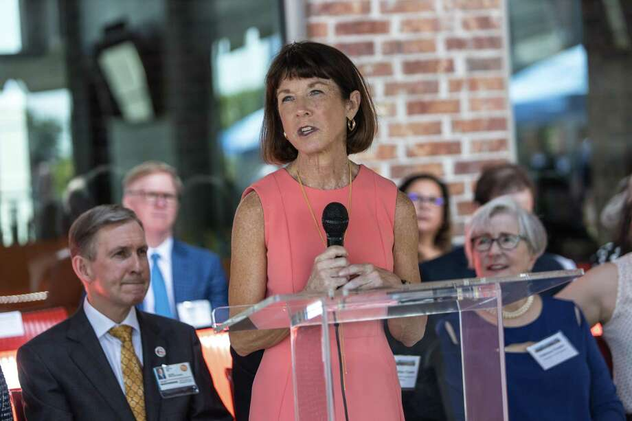 Dr. Susan Blaney ofTexas Children's Director of Cancer & Hematology Centers speaks at theMay 15, 2019, opening of the Halo House Foundation's new 33-unit facility. Photo: Courtesy Of Halo House / luxestudioproductions
