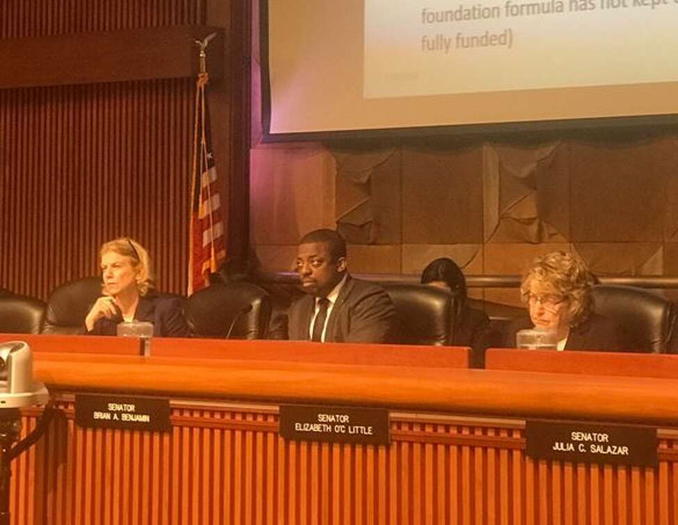 Lawmakers listen to potential alternative funding sources for K-12 schools on Wednesday May 29 2019 in Albany N.Y.