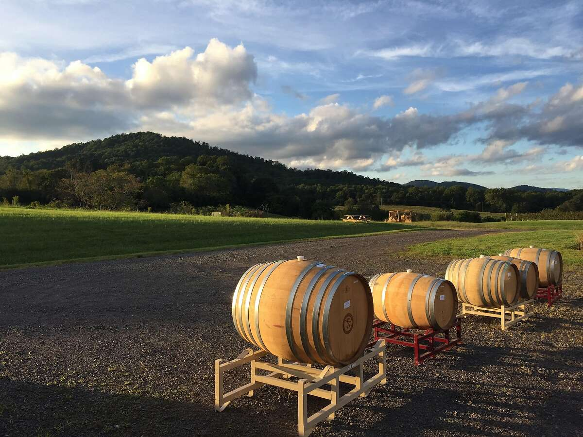 Barrels of wine undergo ambient fermentation at Early Mountain Vineyard in Virginia.