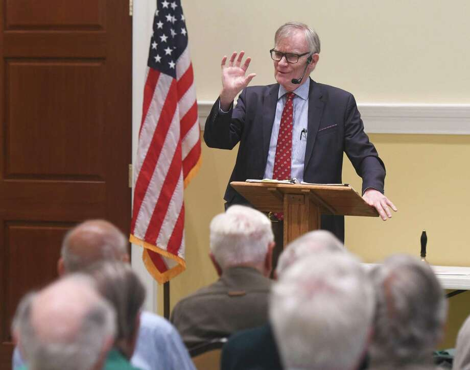 "Yale History Professor David Blight, author of ""Frederick Douglass: Prophet of Freedom"" speaks about Douglass and his accomplishments as part of the Retired Men's Association's weekly speaker series at First Presbyterian Church in Greenwich, Conn. Wednesday, May 29, 2019. Photo: Tyler Sizemore / Hearst Connecticut Media / Greenwich Time"