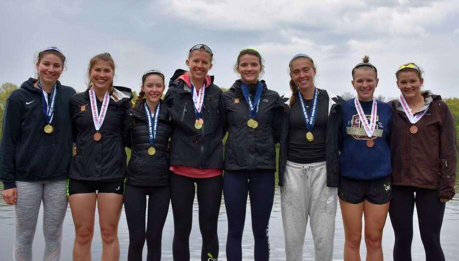 CBC rowers who have qualified for nationals, from left, Heidi Jacobson, Jenna Macrae, Vivi Van Ingen, Casey Batson, Julia Abbruzzese, Catherine Garrett, Ella Petreski and Katherine Lynch (not pictured: Bridget Galloway). Photo: Contributed Photo