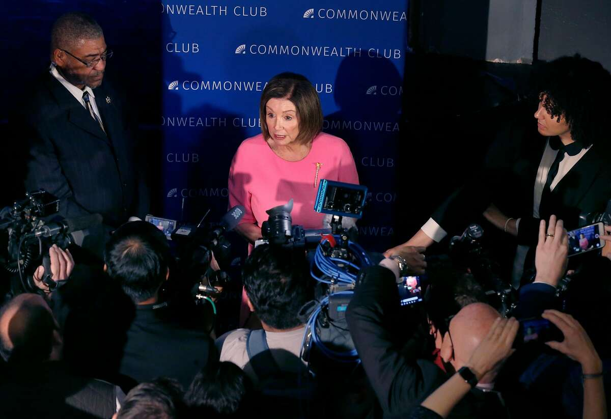 Speaker of the House Nancy Pelosi meets with the media after appearing before a meeting of the Commonwealth Club at the Marines' Memorial Theatre in San Francisco, Calif. on Wednesday, May 29, 2019.