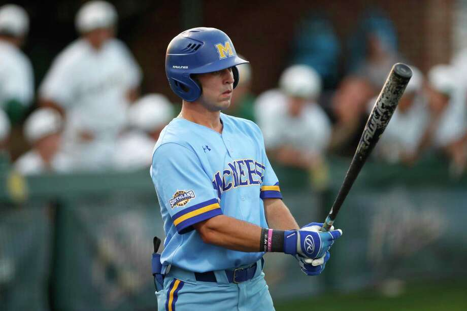 McNeese State senior Nate Fisbeck (10) at bats during a game on May 1, 2019. Photo: Tyler Kaufman, FRE / Associated Press / Copyright 2019 The Associated Press. All rights reserved.
