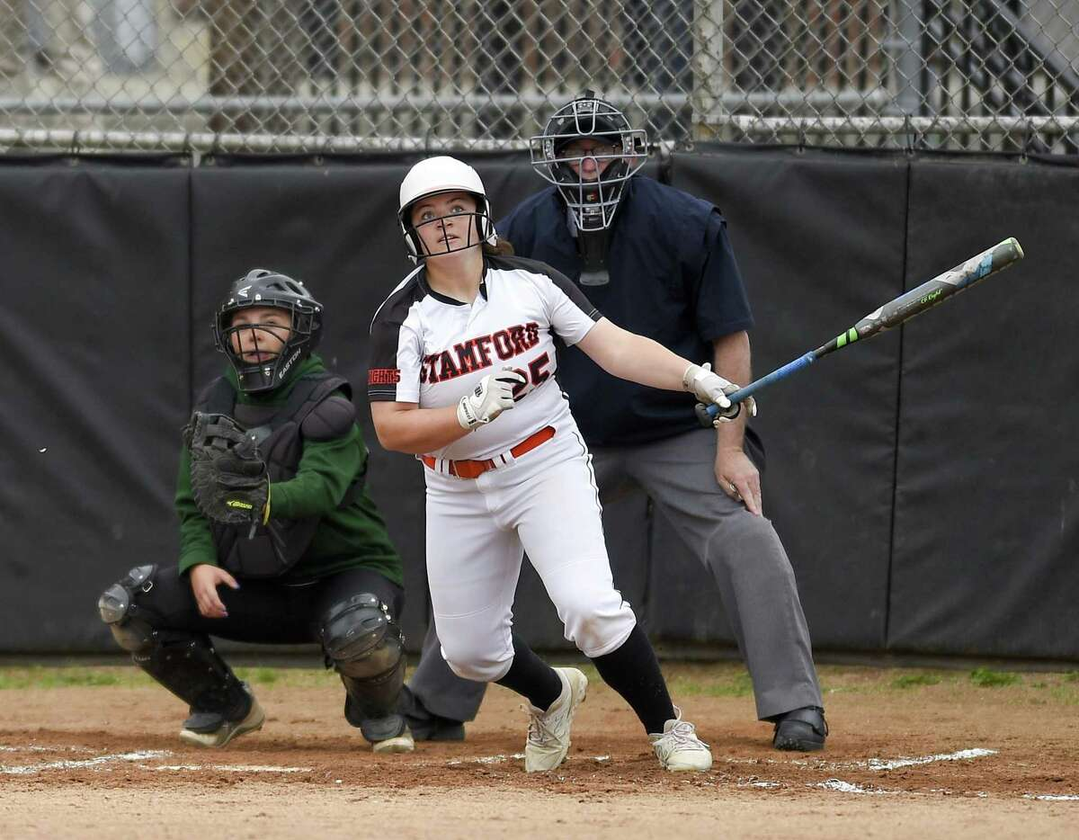 Stamford's Abby Hogan hit a grand slam in the fifth inning against New Milford in the Class LL state tournament in Stamford on Wednesday. Stamford won, 10-0.