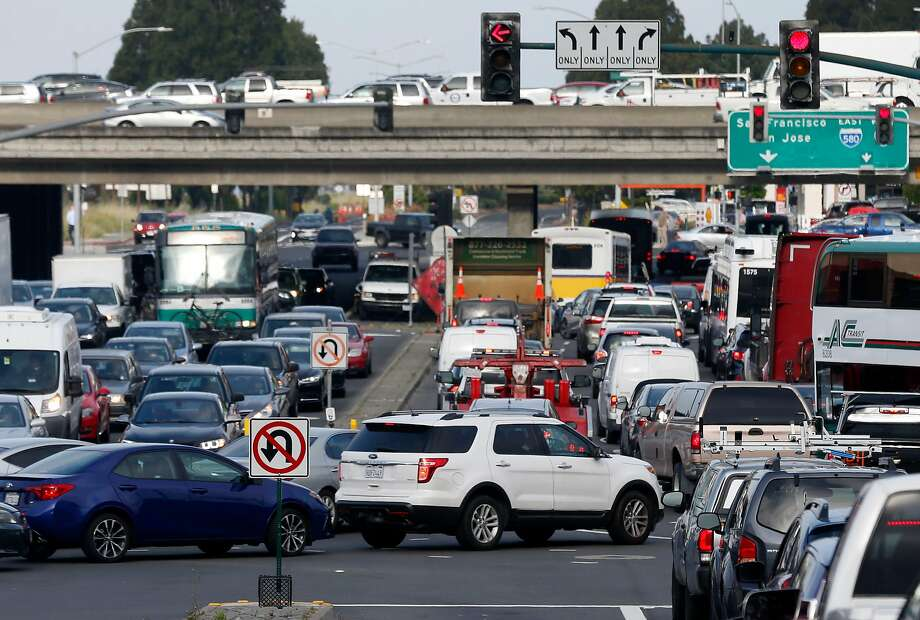 Traffic leading to freeway on-ramps and the MacArthur Maze is at a standstill at Powell Street and Christie Avenue in Emeryville, Calif. on Wednesday, May 29, 2019 following a fatal accident on the Bay Bridge which forced the closure of three lanes during the morning commute. Photo: Paul Chinn, The Chronicle