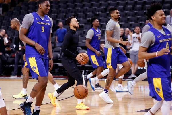Golden State Warriors' Stephen Curry during practice at ScotiaBank Arena in Toronto, Ontario, Canada, on Wednesday, May 29, 2019.