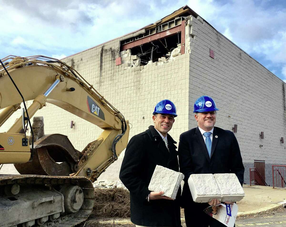 Rodney Butler, left, the Mashantucket Pequot chairman, and Kevin Brown, then Mohegan chairman, at the site of the old Showcase Cinemas in East Windsor on Monday, March 5, 2018. The Mashantucket Pequot and Mohegan tribes plan a casino at the site, operating jointly as MMCT. They later demolished the building but have not broken ground, and Brown is no longer the Mohegan chairman. On Wednesday, Aug. 8, MGM Resorts International filed a lawsuit against the U.S. Department of the Interior over the approval.