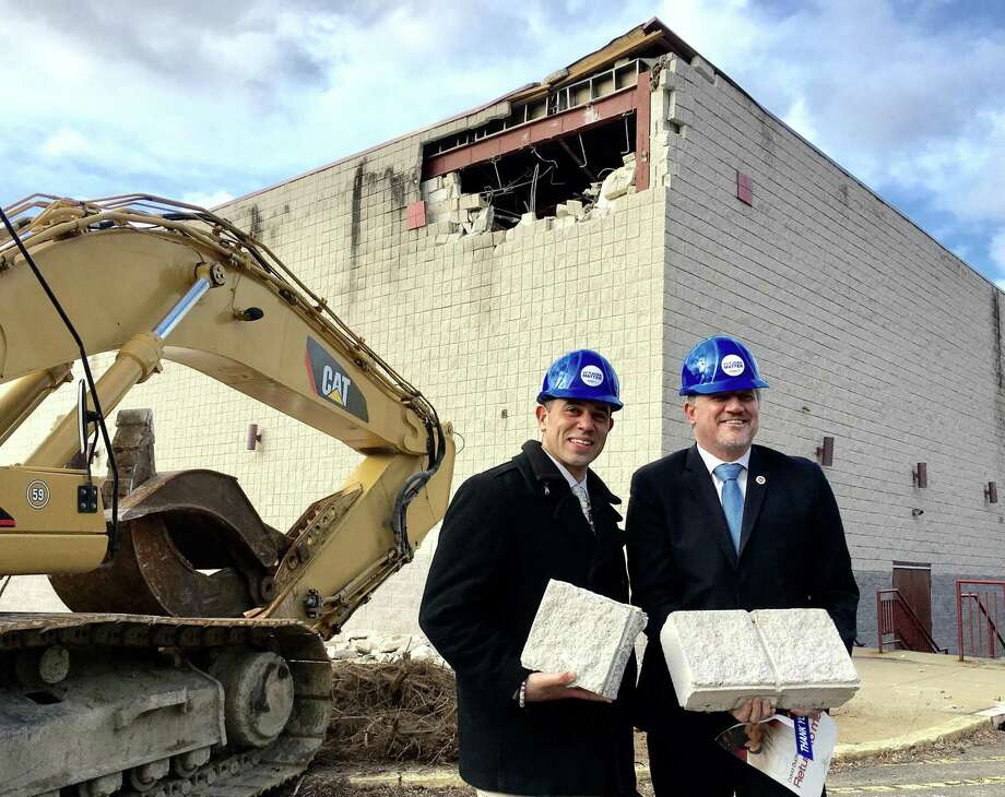 Rodney Butler, left, the Mashantucket Pequot chairman, and Kevin Brown, then Mohegan chairman, at the site of the old Showcase Cinemas in East Windsor on Monday, March 5, 2018. The Mashantucket Pequot and Mohegan tribes plan a casino at the site, operating jointly as MMCT. They later demolished the building but have not broken ground, and Brown is no longer the Mohegan chairman. On Wednesday, Aug. 8, MGM Resorts International filed a lawsuit against the U.S. Department of the Interior over the approval. Photo: Dan Haar / Hearst Connecticut Media / Connecticut Post