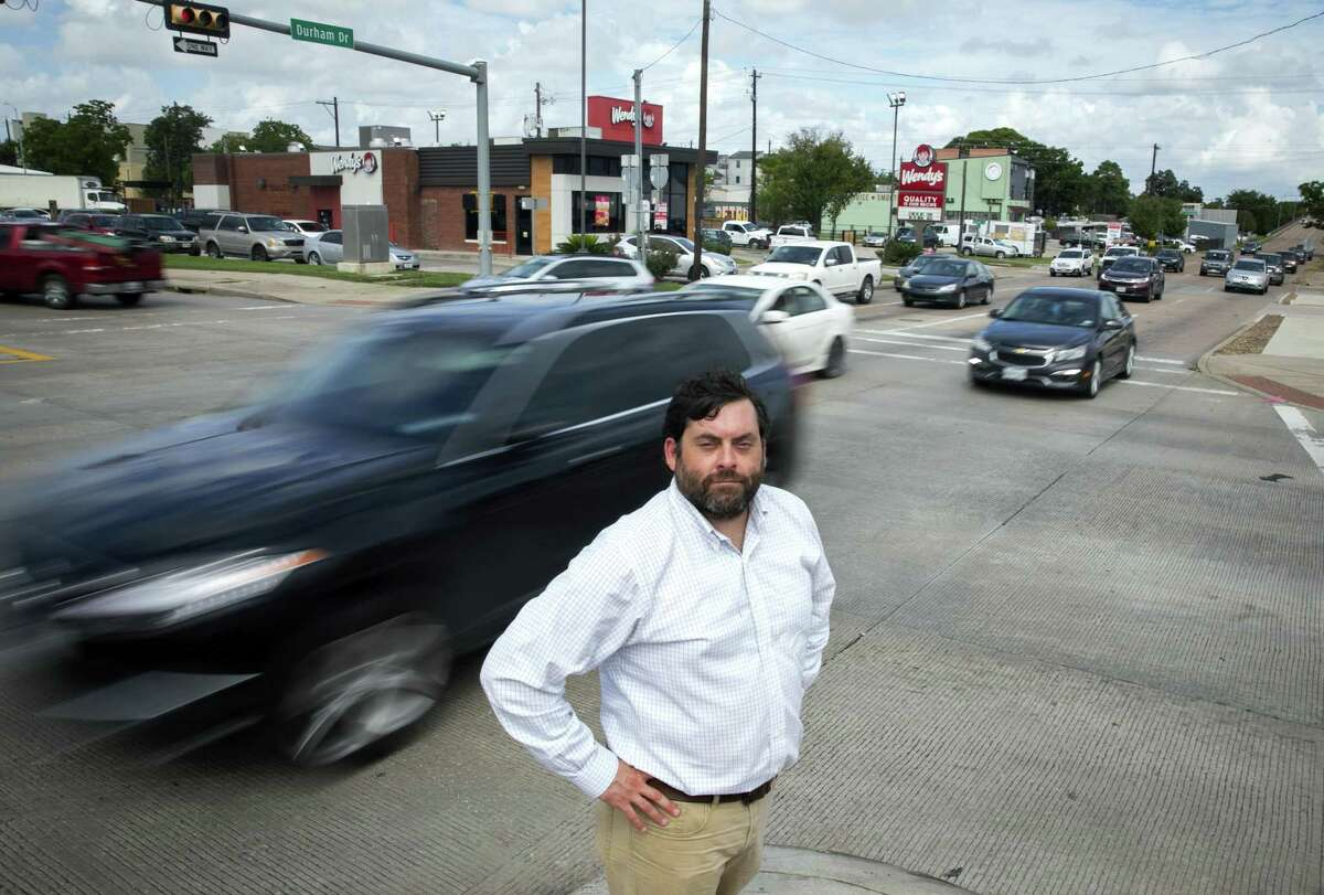Jay Blazek Crossley stands at the intersection of Durham and the westbound Interstate 10 frontage road on Sept. 21, 2018.