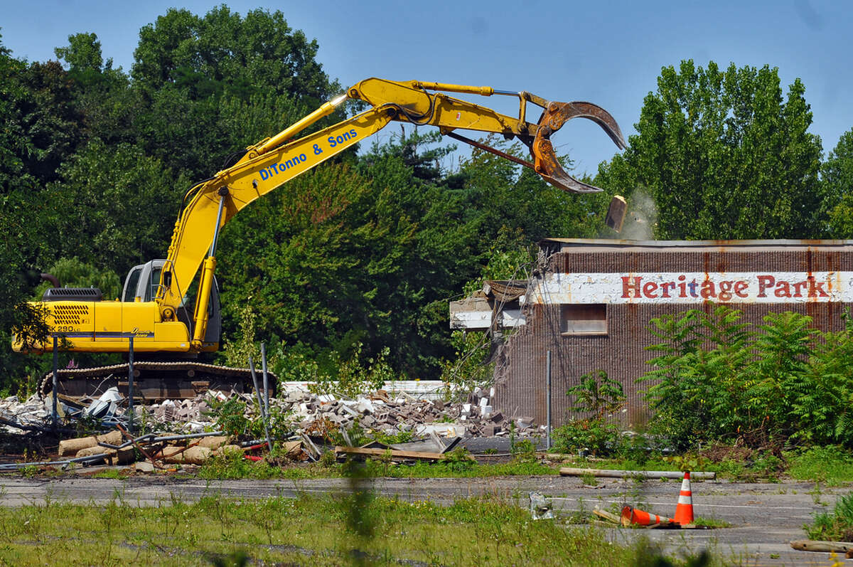 The grandstand under the first base stands of the former Heritage Park baseball stadium is demolished in Colonie on Aug. 3, 2009. The stadium was the home of the Albany-Colonie Yankees from 1985 to 1994. Keep clicking through the slideshow to see historical photos from Heritage Park.