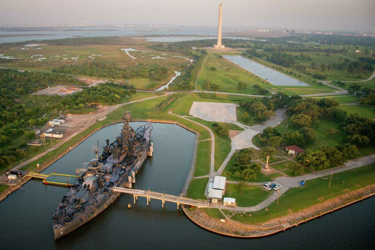 The Battleship Texas and the San Jacinto Monument seen on Friday, May 17, 2013, in Houston.