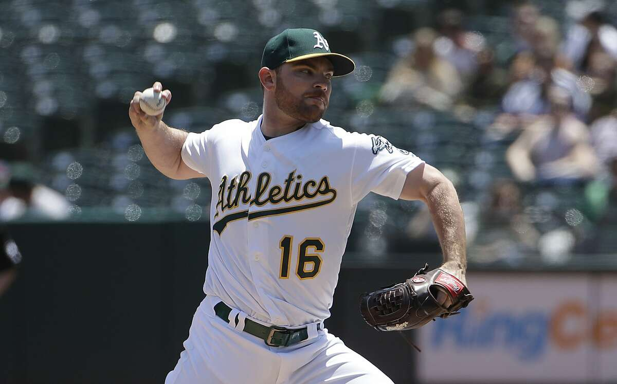 Oakland Athletics' Liam Hendriks pitches against the Los Angeles Angels during the first inning of a baseball game in Oakland, Calif., Wednesday, May 29, 2019. (AP Photo/Jeff Chiu)