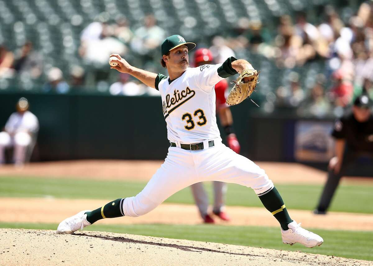 OAKLAND, CALIFORNIA - MAY 29: Daniel Mengden #33 of the Oakland Athletics pitches against the Los Angeles Angels in the third inning at Oakland-Alameda County Coliseum on May 29, 2019 in Oakland, California. (Photo by Ezra Shaw/Getty Images)