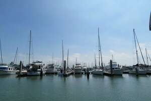Boats of all sizes fill the marina along Shoreline Boulevard in Corpus Christi.
