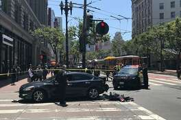 A car was struck by another driver on Fifth and Market streets in San Francisco on Wednesday May 29, 2019.