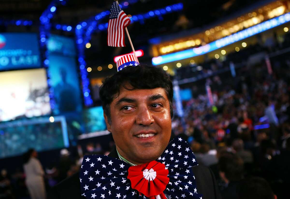 CHARLOTTE, NC - SEPTEMBER 05: Mike Saifie of San Bernadino, CA wears patriotic items during day two of the Democratic National Convention at Time Warner Cable Arena on September 5, 2012 in Charlotte, North Carolina. The DNC that will run through Septembe